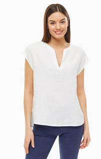 Блуза Белая льняная блуза с треугольным вырезом Stefanel