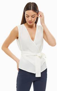 Блуза белого цвета с запахом Stefanel