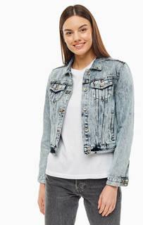 Куртка Короткая джинсовая куртка выбеленного синего цвета Superdry