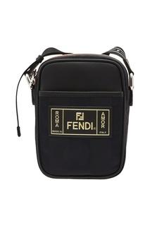 Черная сумка-мессенджер с логотипом Fendi