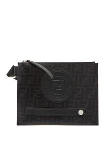 Черная сумка-мессенджер с монограммами FF и кожаной аппликацией Fendi