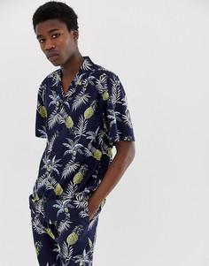 Темно-синяя рубашка с принтом ананасов Fairplay Capone - Черный