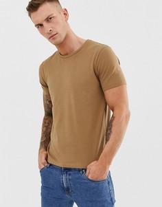 Светло-коричневая футболка с круглым вырезом Celio - Бежевый