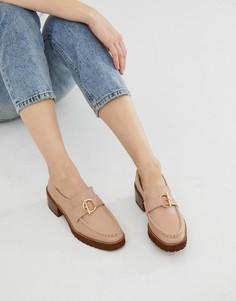 Серо-коричневые кожаные лоферы на наборном каблуке и толстой подошве E8 by Miista - Бежевый Eeight