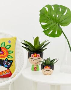 Большой цветочный горшок с дизайном в виде Фриды Кало Sass & Belle - Мульти
