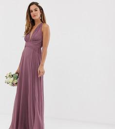 Платье макси со сборками на лифе и запахом на поясе ASOS DESIGN Bridesmaid - Фиолетовый