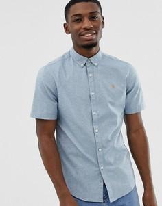 Синяя меланжевая приталенная оксфордская рубашка с короткими рукавами Farah Steen - Синий