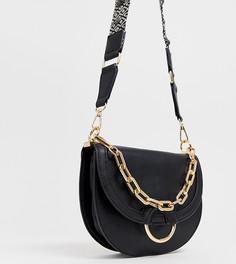 Черная сумка-седло через плечо с вышивкой на ремешке ALDO Bacabe - Черный