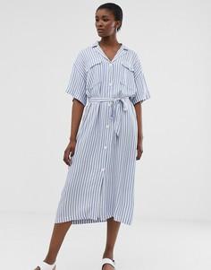 Платье миди в голубую и белую полоску с поясом Weekday - Белый