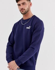 Темно-синий свитшот с маленьким логотипом Puma Essentials - Темно-синий