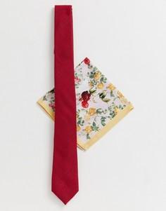 Узкий фактурный галстук и платок для нагрудного кармана с цветочным принтом ASOS DESIGN Wedding - Желтый