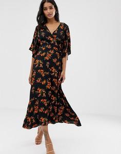 Платье с запахом, поясом и цветочным принтом Liquorish - Черный