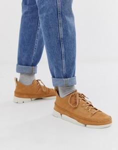 Светло-коричневые замшевые кроссовки Clarks Originals Trigenic Flex - Рыжий