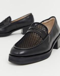 Черные лоферы на каблуке и толстой подошве с плетеной отделкой E8 by Miista - Черный Eeight