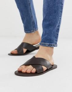 Светло-коричневые кожаные сандалии с перекрестными ремешками KG by Kurt Geiger - Коричневый