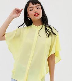 Мягкая рубашка без рукавов с оборками ASOS DESIGN Petite - Желтый