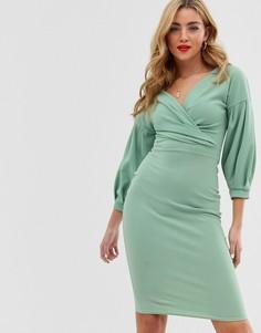 e69550d4c4e Светло-зеленое облегающее платье миди с пышными рукавами Boohoo - Зеленый