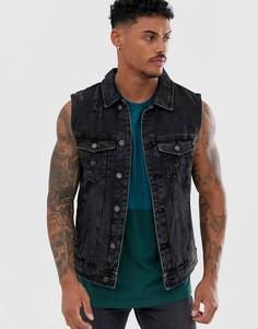 Черная джинсовая куртка без рукавов Pull&Bear - Черный