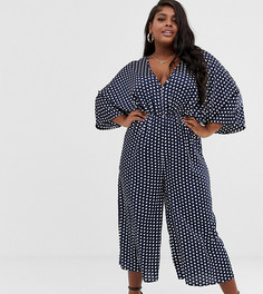 Темно-синий комбинезон в горошек с рукавами-кимоно Missguided Plus - Мульти