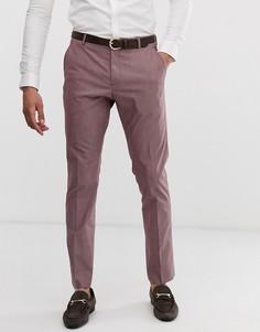 Розово-коричневые строгие брюки узкого кроя Selected Homme - Коричневый