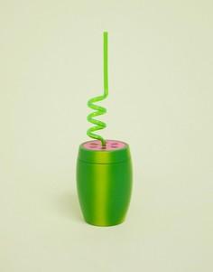 Стакан в виде арбуза с трубочкой Talking Tables - Зеленый