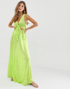 Зеленое пляжное платье макси с узлом на талии ASOS DESIGN - Зеленый