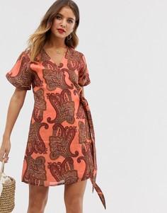 Платье мини с принтом пейсли Stevie May - Untitled - Оранжевый