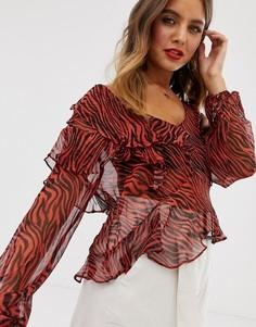 Блузка с цветочным принтом и оборками Stevie May - Walk On By - Красный