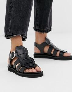 Черные кожаные сандалии-гладиаторы Bronx - Черный