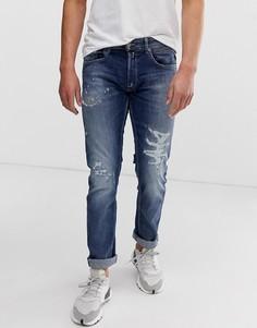 Ультраэластичные джинсы прямого кроя с потертостями Replay - Черный