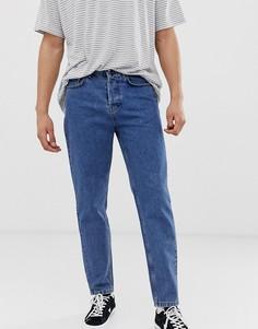 Синие выбеленные суженные книзу джинсы в винтажном стиле Solid - Синий !Solid