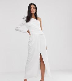 Белое платье макси на одно плечо с высоким разрезом TFNC Tall - Белый