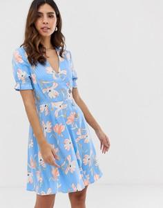 Чайное платье мини в полоску и с цветочным принтом Vero Moda - Мульти