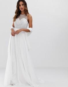 Платье макси с декорированным топом Jovani - Белый
