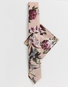 Набор из галстука и платка паше с цветочным узором с эффектом металлик Twisted Tailor - Розовый