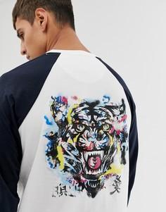 Топ с рукавами реглан и тигром на спине Le Breve - Темно-синий