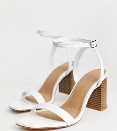 Белые босоножки на каблуке для широкой стопы ASOS DESIGN - Белый