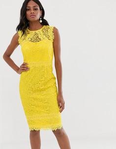 Кружевное платье миди с отделкой кроше Paper Dolls - Желтый