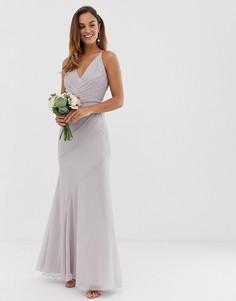 Платье макси с плиссировкой на лифе и юбкой-годе ASOS DESIGN Bridesmaid - Розовый