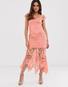 26a6dacd51051b3 Ажурное платье кораллового цвета с вырезом сердечком Love Triangle -  Оранжевый