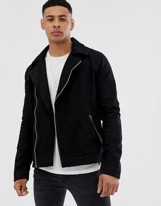 Черная джинсовая байкерская куртка ASOS DESIGN - Черный