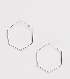 Серебряные шестигранные серьги-кольца Kingsley Ryan - Exclusive - Серебряный
