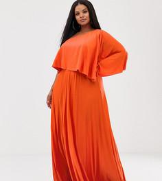 Плиссированное платье макси на одно плечо с кроп-топом ASOS DESIGN Curve - Оранжевый