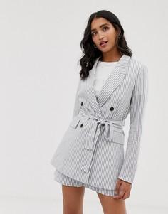 Мягкий приталенный пиджак в полоску Y.A.S - Кремовый