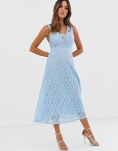 Кружевное платье миди с V-образным вырезом TFNC - Синий