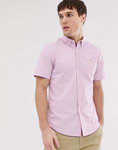 Сиреневая фактурная приталенная рубашка с короткими рукавами Farah - Steen - Фиолетовый