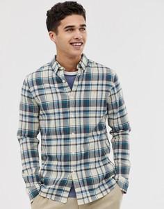 Светло-бежевая приталенная рубашка в клетку Farah Julio - Светло-бежевый