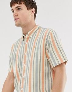 Рубашка свободного кроя в полоску с короткими рукавами Farah - Оранжевый