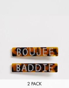 Набор из 2 черепаховых заколок для волос с надписями Boujee и Baddie Glamorous - Коричневый