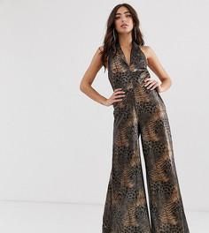 Комбинезон с широкими штанинами и леопардовым принтом House of Stars - Коричневый